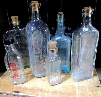 Antique Glass Bottle Lot of 6 Old Bottles - 5 corked, 1 screw on