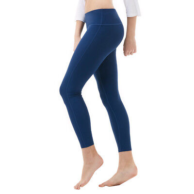 Tesla FYP41 Women's Mid-Waist Ultra-Stretch Yoga Pants - Solid Navy