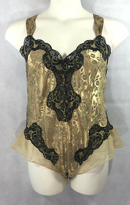 Solange Satin Gold and Black Teddy Plus Size 22/24 New with Tag