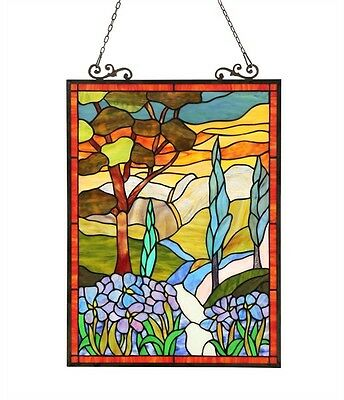 """Tiffany Style Stained Glass Window Panel Handcrafted Floral Design 18"""" X 24"""""""
