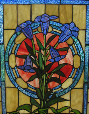"LAST ONE THIS PRICE Tulip Tiffany Style Stained Glass Window Panel 20"" W x 32"" L"