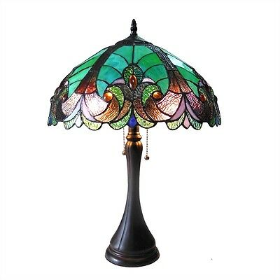 """Handcrafted  Victorian Design Tiffany Style Stained Glass Table Lamp 16"""" Shade"""