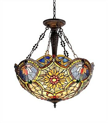 "21"" Shade Reverse Hanging Stained Cut Glass Ceiling Light    Beautiful Colors!"