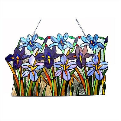 Handcrafted Colorful Iris Floral Design Tiffany Style Stained Glass Window Panel