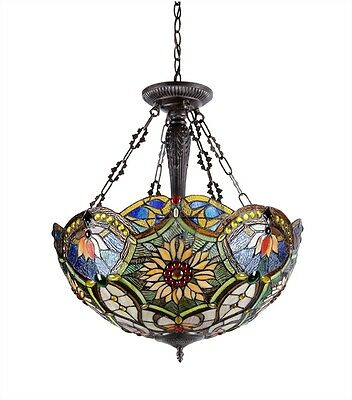 Reverse Hanging Stained Cut Glass Ceiling Light Tiffany Style  Beautiful Colors!