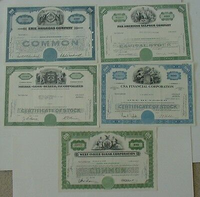 25 Stock Certificates - Pan American World, Childs Company, King's Dept Stores