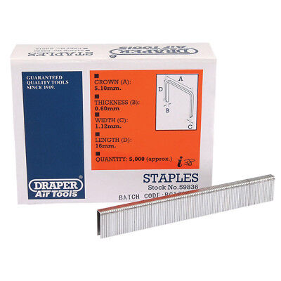 5000 Draper 16mm Staples To Fit For 57555 Air Stapler and 83659 Electric Stapler