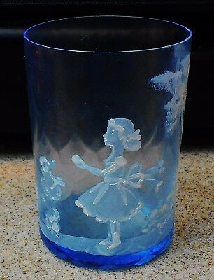 Antique Mary Gregory Juice Glass Maine Blue Girl Feeding Poodle Dog