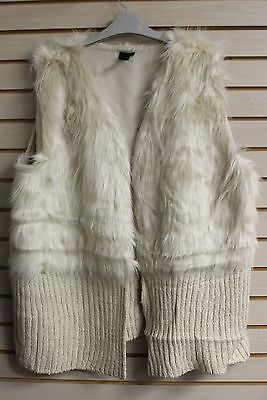 New Womens Plus Size 3X 70S Retro Sand Ribbed Hem Faux Fur Fully Lined Long Vest