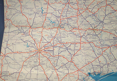 TEXAS 1940 Humble Oil & Refining Road Map -No holes, tears, or marks.