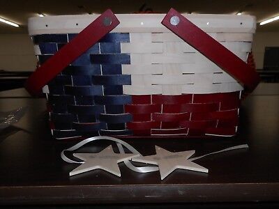Longaberger Texas State Basket Medium Market with Star Tie Ons NEW