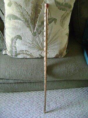 "Vintage Handmade Walking Stick/wood Cane 36""l Made Of Cocoanut Palm Hardwod Tip"