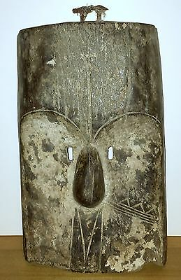 Beautiful Old Painted Wood Mask With Rectangular Shaped Eyes From Gabon
