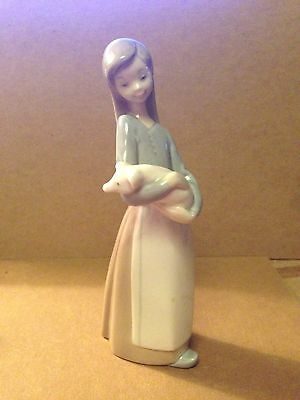 "Vintage Retired LLADRO Porcelain Figurine Statue #1011 ""GIRL WITH PIG"" SPAIN"