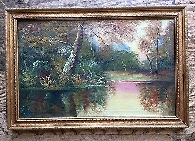 Early 20th Century Landscape Oil Painting LAKE in WOODS Mulholland? ANTIQUE