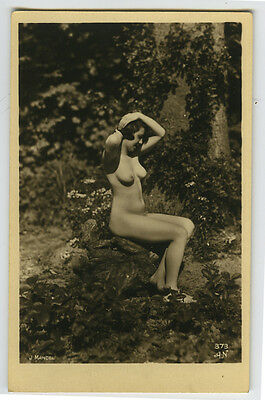 1920s Vintage Sexy French NUDE NATURE FLAPPER Mandel photo postcard