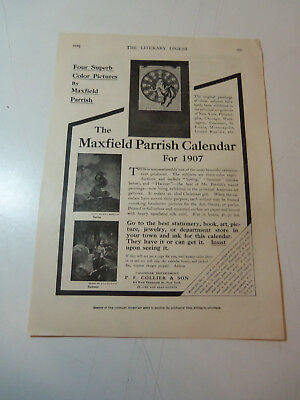 Original 1906 AD for The MAXFIELD PARRISH CALENDAR for 1907 -  8.5 x 12 Inches