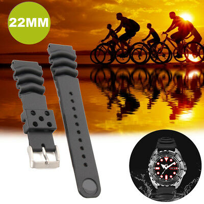 22MM Black Rubber Strap Z22 Stainless Buckle For SEIKO DIVER'S Watch
