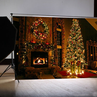 AU 7x5FT Christmas Tree Fireplace Photo Backdrop Photography Background Props