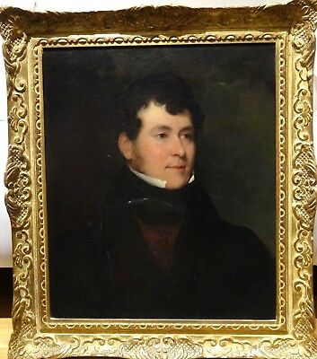 Fine 19th Century English School Portrait of a Gentleman Antique Oil Painting
