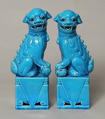 Good Pair Of Large Vintage Chinese Republic Porcelain Temple Fo Dog Figures