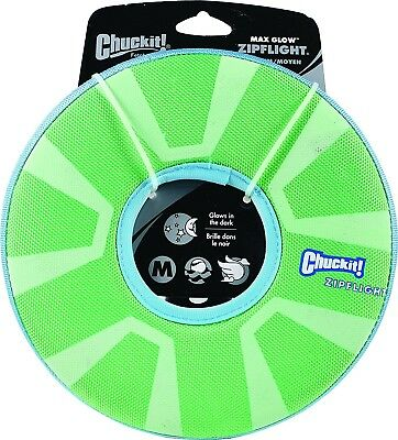 Chuckit ZIPFLIGHT Dog Fetch Toy Max Glow In The Dark Frisbee Ring Rechargeable