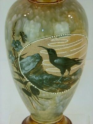 A Very Rare Doulton Lambeth White Winged Chough Vase by Florence Barlow.