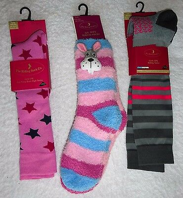 "New X 4 Pairs "" The Riding Sock Co "" Socks Long Thick Padded Foot Kids 12.5 -3.5"