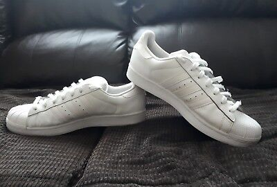 Mens Adidas Superstar Trainers. White Leather Size Uk 10. Eur 44 2/3.