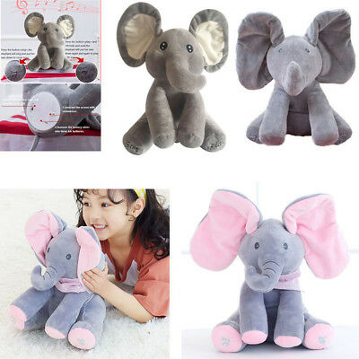 Xmas Gifts Peek-a-boo Singing Music Elephant SOFT Plush TOY DOLL Animated Kids