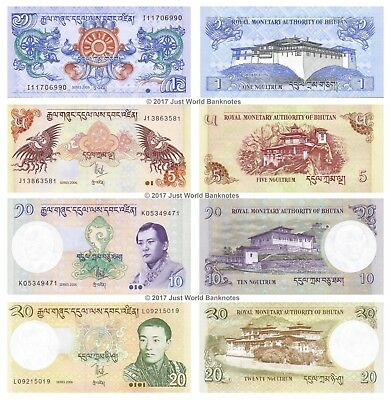 Bhutan 1 + 5 + 10 + 20 Ngultrum 2006 Set of 4 Banknotes 4 PCS UNC