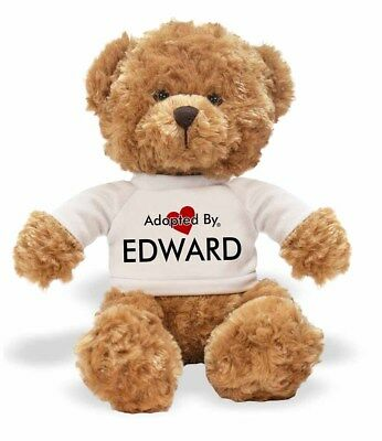 Adopted By EDWARD Teddy Bear Wearing a Personalised Name T-Shirt, EDWARD-TB1