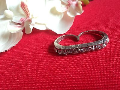 double bague brillants - two fingers ring strass