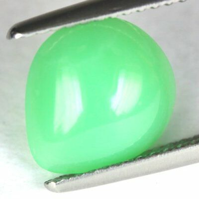 2.40 cts.10.5 x 9.5 mm.UNHEATED NATURAL CABOCHON GREEN CHRYSOPRASE PEAR SRILANKA