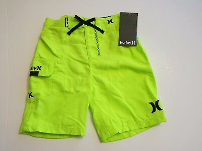 Hurley Toddler Boys 4T  Board Shorts Swim Trunks Volt Neon Yellow NWT Mesh Lined