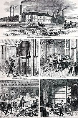 Trenton New Jersey 1875 BOWMAN BRICKS and TERRA COTTA WORKS Matted Antique Print