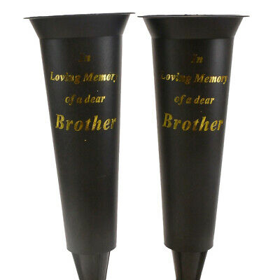 Set of 2 In Loving Memory Brother Spiked Memorial Grave Flower Vases Container H