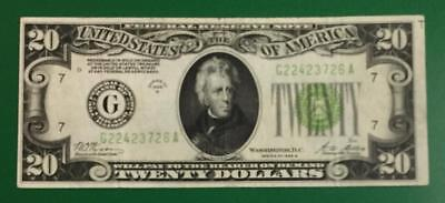 "1928B $20 ""LIME"" Redeemable in GOLD"" BIG G"" Chicago X726 FINE!  Paper Currency"