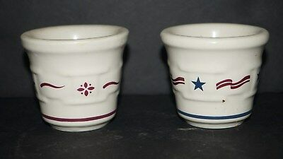 Pair Of 2 Longaberger Pottery All American Stars & Stripes # 35980 Votives Cups