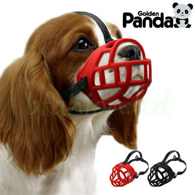 Panda Ultra Dog No Bite Muzzle Comfortable Soft Plastic Mesh Basket Black
