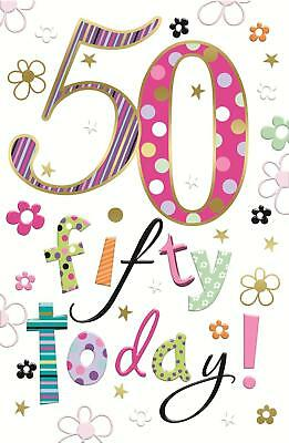 Fantastic Colourful 50 Fifty Today 50Th Birthday Greeting Card