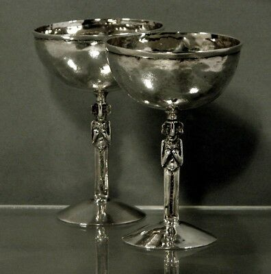 Peru Silver Goblets (2)  *** Hand Wrought ***      c1875        Signed