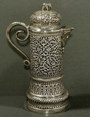 Indian Sterling Pitcher     CONRA HANDLE & MASK SPOUT         Kashmir  c1890