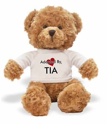 Adopted By TIA Teddy Bear Wearing a Personalised Name T-Shirt, TIA-TB1