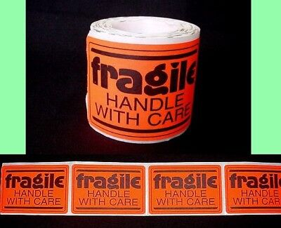 FRAGILE - Handle With Care Labels - 100 ct