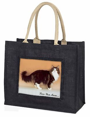 Norwegian Forest Cat 'Love You Mum' Large Black Shopping Bag Christ, AC-40lymBLB