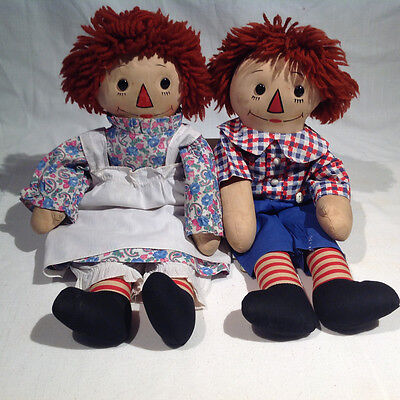 """1930's-1940's GEORGENE RAGGEDY ANN & ANDY DOLLS, BLACK OUTLINED NOSES, 18"""" TALL"""