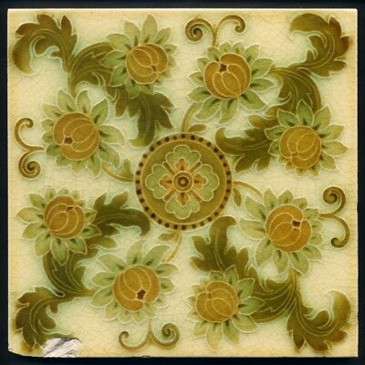 TH3173 Pilkington's Aesthetic Floral Majolica Tile c.1900