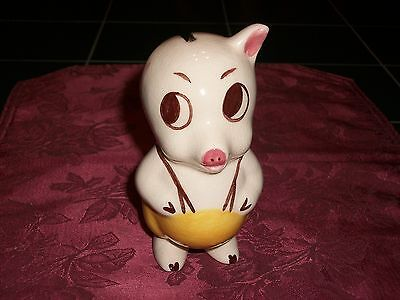Vintage Ceramic Pottery One-eared Pig in Overalls Piggy Bank or Razor Blade Bank