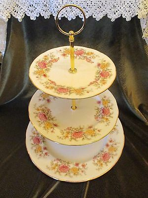 Lovely Vintage Colclough China Plated 3 Tier Cake Stand 'amanda'